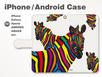 iPhone7/7Plus/Android全機種対応 スマホケース 手帳型 動物-アニマル-シマウマ-ゼブラ-B 36の画像