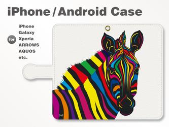 iPhone7/7Plus/Android全機種対応 スマホケース 手帳型 動物-アニマル-シマウマ-ゼブラ-C 37の画像