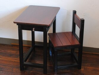 ★渋カワ!チャコールブラック&チークカラーのレトロな小さい勉強机と椅子セットの画像