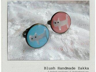 Blush Handmade Zakka:可愛い猫調節可能な銅リングの画像