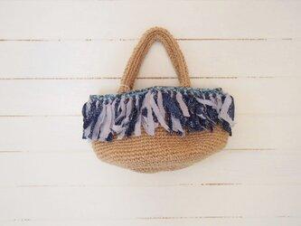 裂き編み フリンジ麻紐 丸底バッグの画像