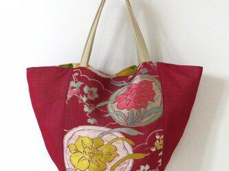 春色柄帯のトートバッグの画像