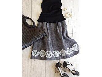 レース編みと北欧リネンのスカート・メランジブラックの画像