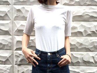 形にこだわった大人の4分袖無地Tシャツ 白【サイズ展開有】の画像