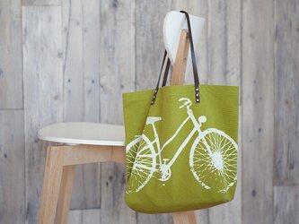 バイオウォッシュ帆布トートバッグ、自転車、若葉の画像