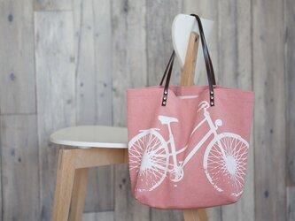 バイオウォッシュ帆布トートバッグ、自転車、さくらの画像