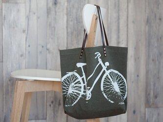 バイオウォッシュ帆布トートバッグ、自転車、アーミーの画像
