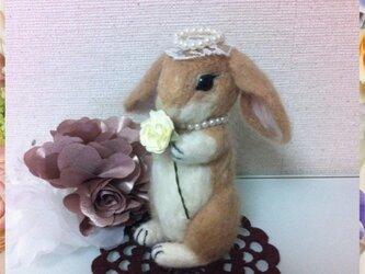 うさちゃん お花とティアラ(ベージュ)の画像