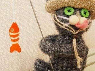 釣り猫(グレー)の画像