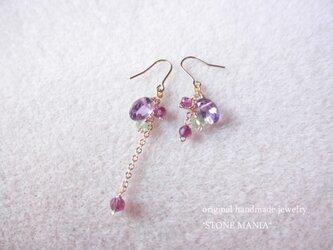 ♡floral pierce♡amethyst♡の画像