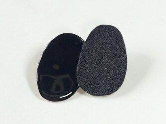 OVAL double brooch (black)の画像