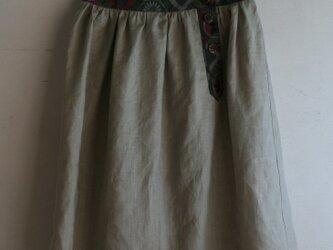 ウールとリネンのヨークスカート グレー Mサイズの画像