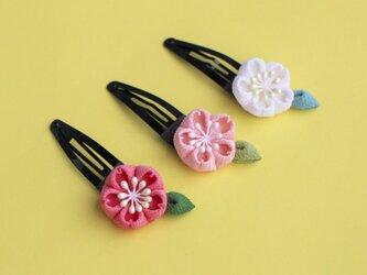 七五三♫正絹 桜のぱっちんヘアピン つまみ細工の画像