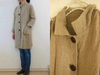 【受注制作】麻ベージュ 極厚リネン すっきりコートの画像