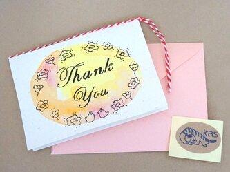 ガリ版印刷グリーティングカード「Thank You」(テクスチャー)の画像