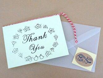 ガリ版印刷グリーティングカード「Thank You」(シャーベットグリーン)の画像
