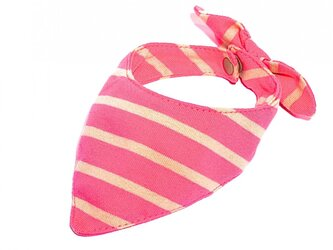 ネコ・イヌ用スカーフ ピンク×ベージュボーダーの画像