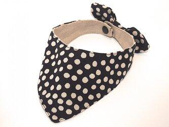 ネコ・イヌ用スカーフ 黒×白水玉の画像