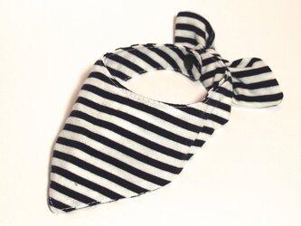 ネコ・イヌ用スカーフ 白黒ボーダーの画像