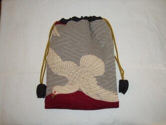 古布巾着【F-29】 鳩の柄の巾着の画像