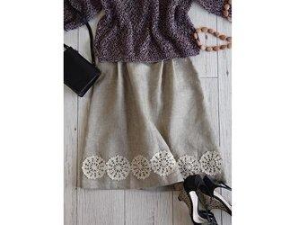 レース編みと北欧リネンのスカート・メランジベージュの画像
