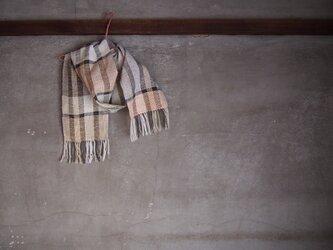 手織り/cotton ミニマフラー white,cream×BLACK  (+orimi)の画像