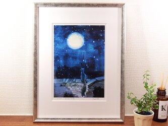 『月を見ている猫』ジークレー画 額装品の画像