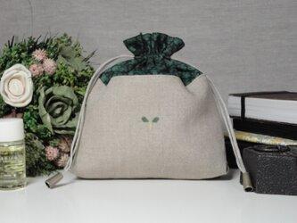 巾着 マチ2cm 芽 緑の画像