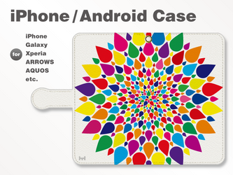 iPhone7/7Plus/Android全機種対応 スマホケース 手帳型 北欧-春-花-フラワー ビビッド 38_01の画像