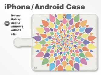iPhone7/7Plus/Android全機種対応 スマホケース 手帳型 北欧-春-花-フラワー パステル 38_02の画像