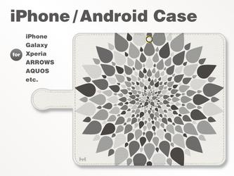 iPhone7/7Plus/Android全機種対応 スマホケース 手帳型 北欧-春-花-フラワー モノクロ 38_04の画像