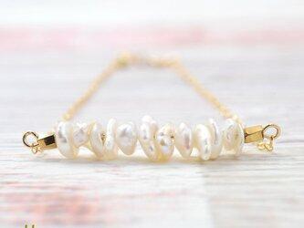 送料無料[14kgf]バロックパールブレス、真珠のブレスレット、6月誕生石 ジュエリーの画像