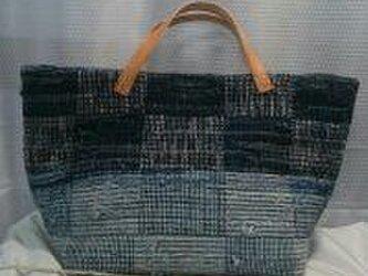 ジーンズ裂き織りバッグの画像
