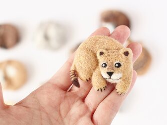 まるまる羊毛ブローチ ライオンの赤ちゃん【受注制作】の画像