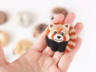 まるまる羊毛ブローチ レッサーパンダ【受注制作】の画像