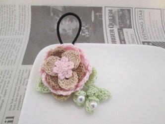 大きなお花ヘアゴム:ピンクの画像