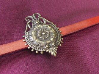 真鍮ブラス製 大正ロマン調和洋折衷大き目帯留め 着物や浴衣の帯締め飾りにの画像