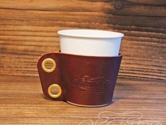 レザーカップスリーブ SS  -多脂牛 ワインレッドの画像