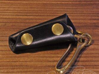 レザーキーケース -高級イタリアンレザー ブラックの画像