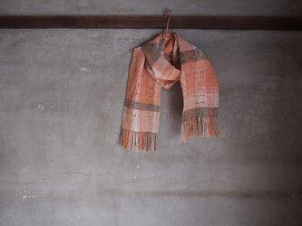 手織り/cottonMuffler  Dots,緑の縞透かし  (+orimi)の画像