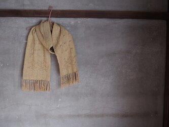 手織り/cottonMuffler 緑黄織ノ波、透かし  (+orimi)の画像