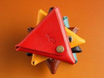 受注生産〜Triangle【大切なひとへのプレゼントに♪名入れできます♪】〜イタリアンレザー   トライアングルコインケース 〜の画像