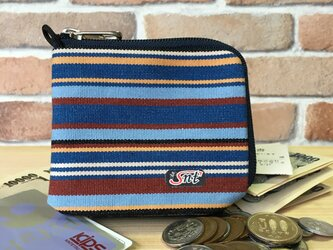 オシャレで機能的!旅に便利な、カード・お札・コイン用 帆布財布 紺系の画像