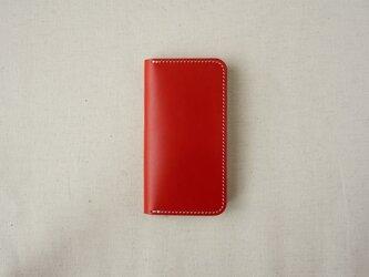 牛革 iPhone SE/5/5sカバー  ヌメ革  レザーケース  手帳型  レッドカラーの画像
