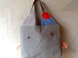 猫顔トート(オレンジのヒゲ)の画像
