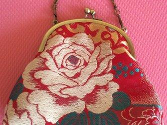 がまぐちチェーンバッグ・ 薔薇柄帯地の画像