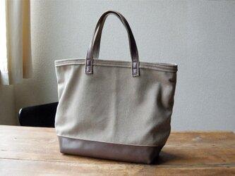 ■ nori. cotton + 革トート ブラウンの画像