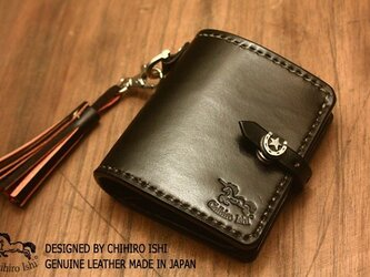 JAPANレザーカラーオーダー可能 二つ折り財布 手染め手縫いの画像