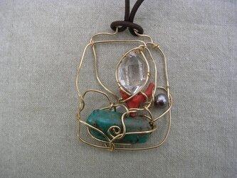 ハーキマーダイヤモンドと珊瑚のペンダント TL-01の画像