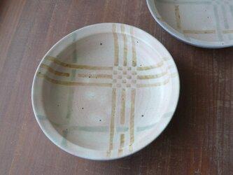 釉彩格子 スプーン鉢 黄の画像
